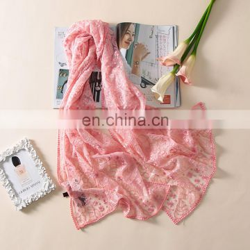 Floral embroidered lace organza silk scarf