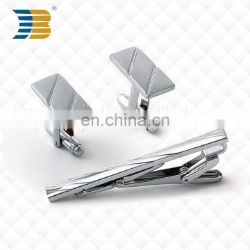 Personalized Silver Men Metal Stainless Steel Plain Skinny Custom Tie Clips and Cufflinks