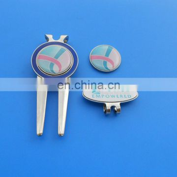 high quality customized golf used gift sets custom printiing logo hat slip metal golf divot tool