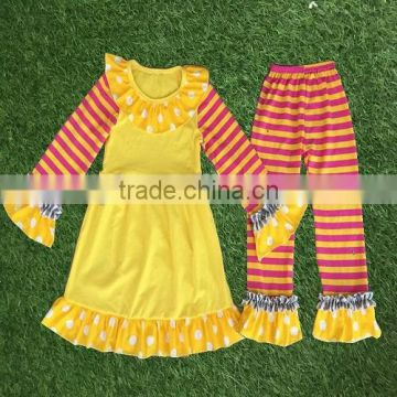 2016 little girls boutique clothing sets wholesale children fall outfits kids long sleeve dress with Baby Girl Ruffles Outfits