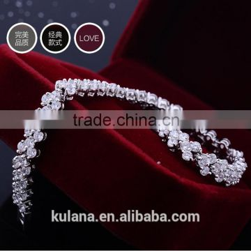 GSSL-4 Wholesale Fashion Hot Selling Brand Classical Silver Chain Bracelet With Zircon Stone