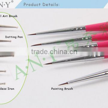 ANY Single Piece Nail Art Painting Design Silver Wood Handle Micropainting Nail Art Brush+Dotting Tools                                                                         Quality Choice