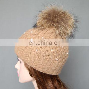 Super natural color raccoon fur pom pom hats with pearls for ladies
