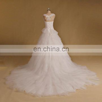 Lovely Cap Sleeve Pleating Ruffle Puff Wedding Dress Long Tail Lace Up Zhongshan