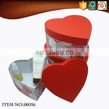 Luxury nesting red heart shape paper gift box packaging box