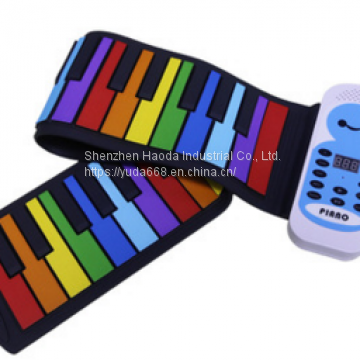Rainbow hand roll keyboard folding keyboard hand roll piano children's toy musical instrument children's puzzle 49 keys