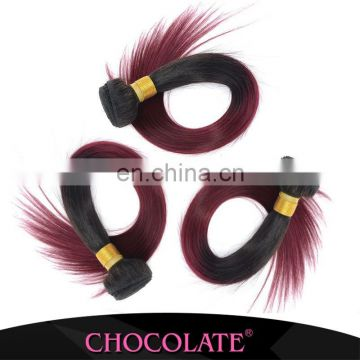 Chocolate hottest ombre color 1B99J straight human whole brazilian hair extension