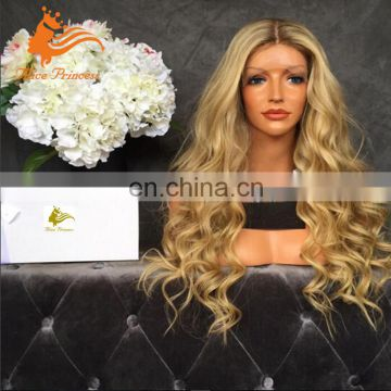 Ombre Peruvian Hair Full Lace Wig Two Tone Blonde Humna Hair Full Lacw Wig Body Wave Rose Wig With Baby Hair