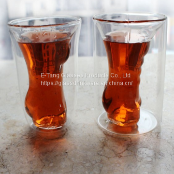 Custom 5Oz Sexy Lady Double Wall Borosilicate Glass Mug Whisky Beer Wine Cup