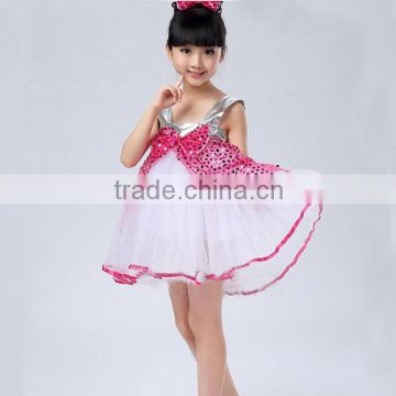 Wholesale hot pink baby girls party wear dress flower cute baby bubble skirt party dress
