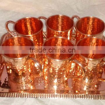 FDA APPROVED 100% PURE COPPER MOSCOW MULE DRINKING MUGS SET WITH COPPER SERVING TRAY