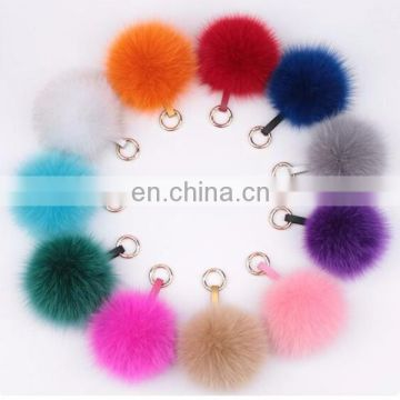 Charm Fluffy fox fur ball pom poms Accessories plush keychain car keyring Bag Purse Pendant