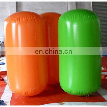 2015 inflatable orange and green buoys in cylinder tube shape for water triathlons advertising