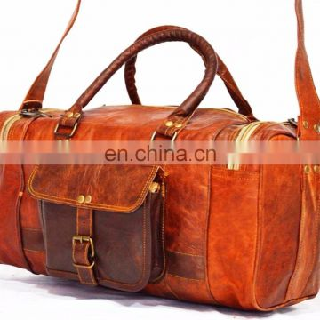 Genuine leather Heavy luggage carry bag vintage goat leather handbag for tr