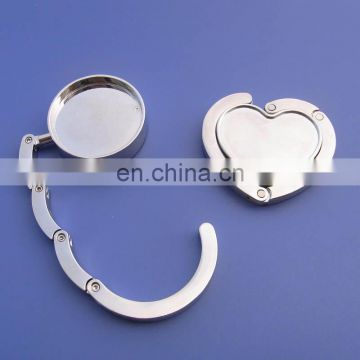 blank heart & round shape silver color purse hook bag hang tag