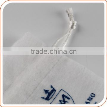 silk screen logo pure white suede jewelry bag