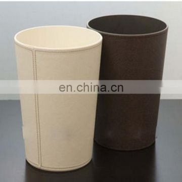 Factory direct sale acrylic pu garbage bin leather garbage can acrylic pu garbage bin