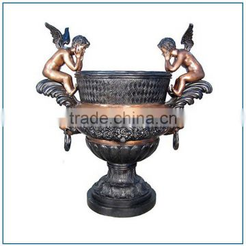 Decoration Two Thinking Cupids Antique Brass Bronze Flower Vase for Sale