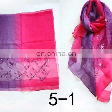 70% wool 30% silk floral embroidery spanish shemagh wool scarf