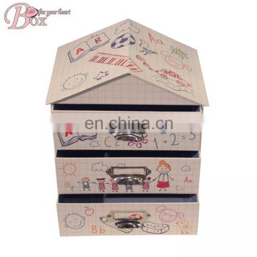 High Quality Cardboard Paper Cute House Shaped Packing Storage Box