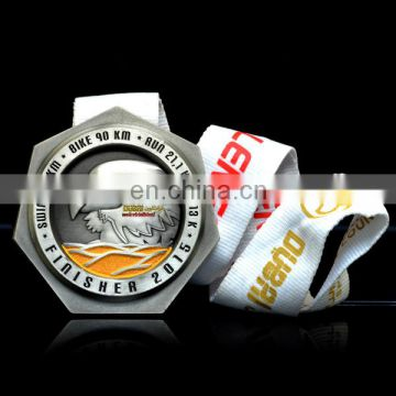 Your own logo run your own race singapore marathon antique pewter 3d metal medal