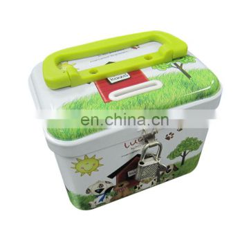 children money saving tin box with lock