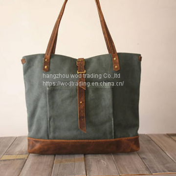 waxed canvas crossbody bags with leather shoulder from China