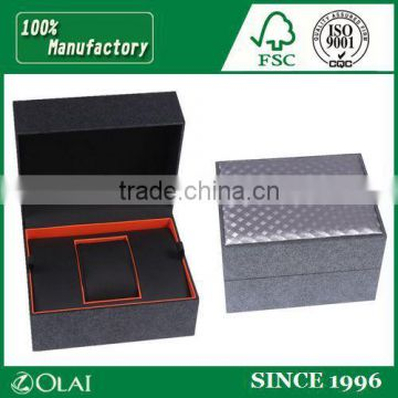 Single Frosted Orange Leather Watch Box