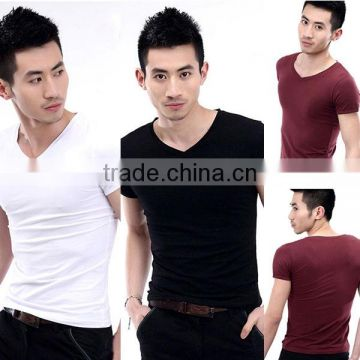 bulk wholesale Men's V-Neck Short Sleeve T-Shirt Slim Basic Tee Top Plain T Shirts For Printing