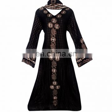 Women's Black Colour Net With Printed Satin Silk Diamond Stone Work Fully Stitched Burkha / Stylish Islamic Wear Abhaya