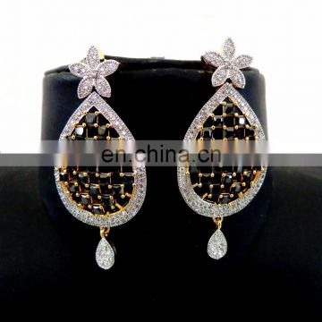Party wear Earring-Gold plated Cubic Zirconia Earring - Wholesale American Diamond Earring -Fashion wear cz Earring