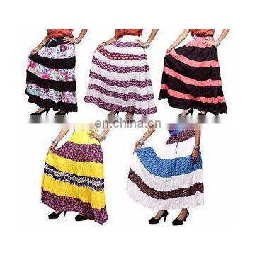 patchwork Long Skirts Wrap Indian Cotton Designer Printed Skirt Dress Gypsy Boho Hippie Casual women wears wholesale