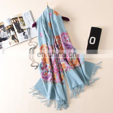 2017 new design winter flower embroidery wool pashmina scarf