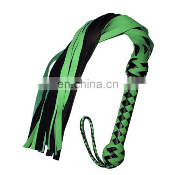 HMB-504F LEATHER BULLWHIPS FLOGGER BLACK GREEN WHIPS 20PCS SOFT TAILS