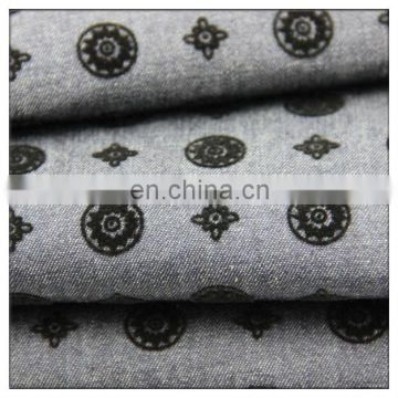 circles design twill flock printing denim fabric