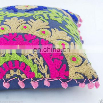 Indian 2 Pcs Lot Vintage Suzani Cushion Cover Embroidered 16x16'' Indian Pillow Case
