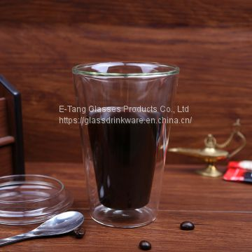 Heat Proof High Borosilicate Double Wall Glass Cup Tumbler Cups With Lid for Tea and Coffee Drinking
