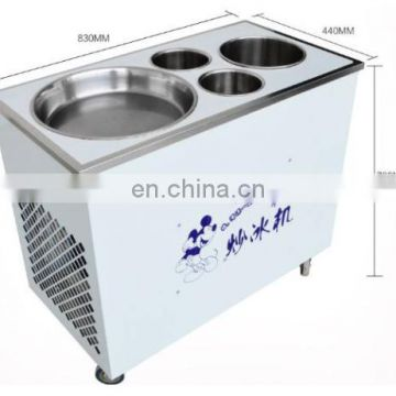 Big Capacity Multifunctional Double round pan USA fry ice cream machine/ fry roll ice cream machine with 10 toppings