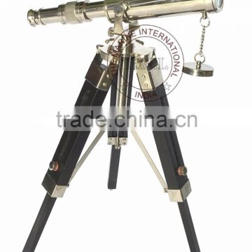 "TELESCOPE WITH STAND 10"" IN NICKEL PLATED STYLE - NAUTICAL BRASS TELESCOPE WITH WOODEN TRIPOD STAND"
