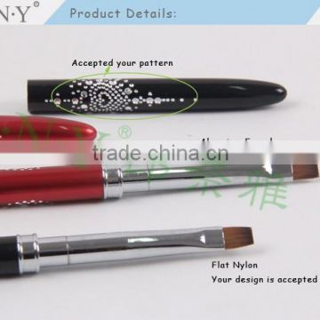 ANY Professional Nail Artist Using Nail Art Beauty Design Metal Handle UV Gel Flat Nail Brush Nylon Hair