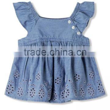 Latest Design Girls Top Sleeveless Baby Girls Top Design Embroidered