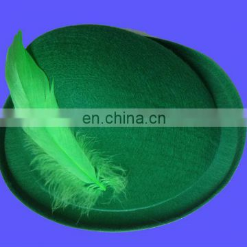Green top hat st patricks day hat irish festival hat doted with green feather