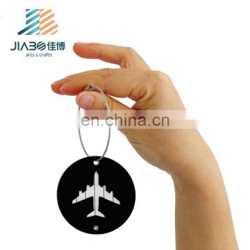 Jiabo custom made funny round shape airplane metal luggage tag