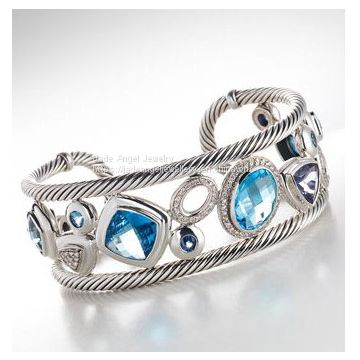 925 Sterling Silver DY Inspired Blue Oval Mosaic Cuff Bracelet