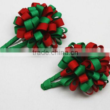 wholesale satin ribbon hair bow with clip for christmas
