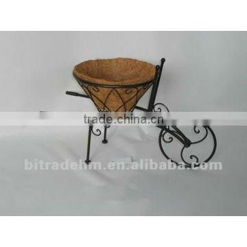 metal cart with coco plant holder