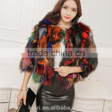 2016 new design colorful fox fur short jacket fox whole skin fur winter coat lady new design