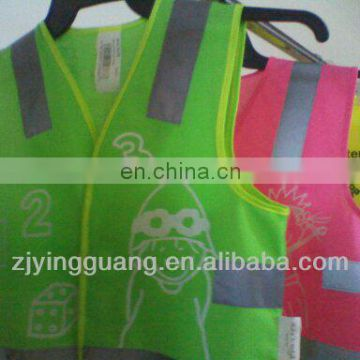 100% Polyster tricot High Visibility tape vest Kids