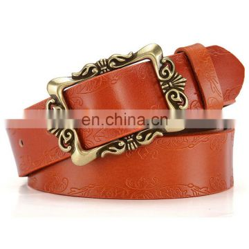customize wholesale vintage embossed patterns waist belt with pin buckle