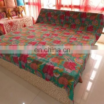 King Size Indian Handmade Kantha Quilt Throw Reversible Bedspread